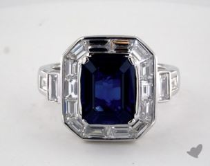 18K White Gold - 3.20ct Emerald- - Blue Sapphire - Lili Ring