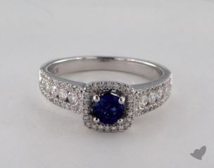 18K White Gold  0.45ct  Round Blue Sapphire Princess Shape Halo Ring