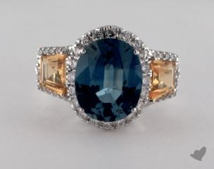 18K White Gold 7.26ct  Oval  Blue Sapphire Ring