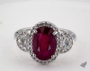 Platinum 4.01ct  Oval Shape Ruby Siren Ring