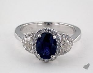 18K White Gold 1.75ct  Oval Shape Blue Sapphire Ring