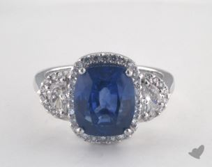 Platinum - 6.06ct Cushion- - Blue Sapphire - Desire Ring