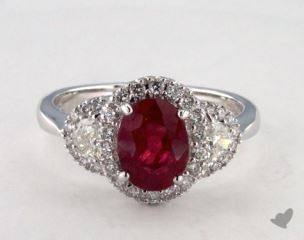 18K White Gold 1.62ct  Oval Shape Ruby Ring