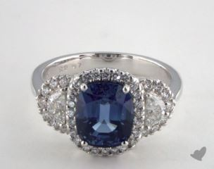 18K White Gold 2.97ct  Oval Shape Blue Sapphire Ring