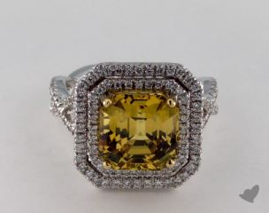 18K Two Tone 6.26ct Emerald ShapeYellow Sapphire Ring