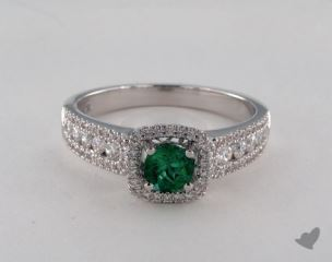 18K White Gold 0.35ct  Green Emerald Princess Shape Halo Ring