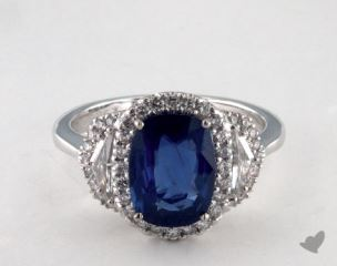 18K White Gold  2.57ct  Oval Shape Blue Sapphire Ring