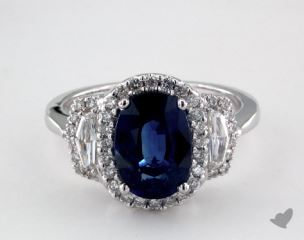 18K White Gold - 3.10ct  - Oval - Blue Sapphire -