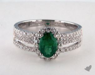 18K White Gold  0.75ct  Oval Shape Green Emerald Hi Lo Ring