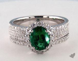 18K White Gold 1.21ct  Oval Shape Green Emerald Hi Lo Ring