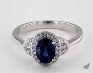 18K White Gold 1.25ct  Oval Blue Sapphire Halo Ring