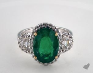 18k two tone - 4.71ct Oval- - Green Emerald - Algos Ring