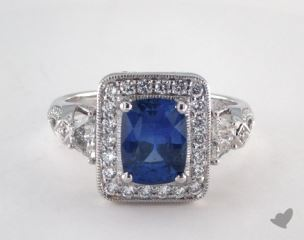 18K White Gold - 1.91ct Cushion- - Blue Sapphire - Cygnus Ring