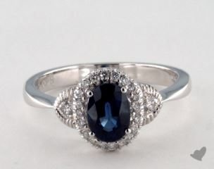 18K White Gold 0.95ct  Oval Shape Blue Sapphire Halo Ring