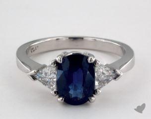 Platinum - 2.38ct Oval- - Blue Sapphire - Vignette Ring