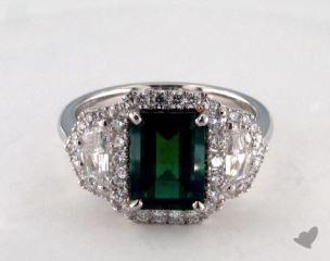 Platinum 2.28ct  Green Emerald Ring
