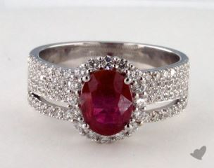 18K White Gold 1.43ct  Oval Shape Ruby Hi Lo Ring