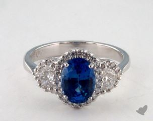 18K White Gold 1.92ct  Oval Blue Sapphire Ring