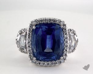 Platinum 9.02ct  Cushion Shape Blue Sapphire Ring