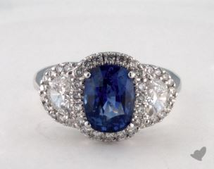 18K White Gold 2.94ct  Oval Shape Blue Sapphire Ring