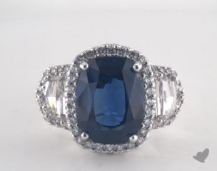 Platinum 6.95ct  Oval Shape Blue Sapphire Ring