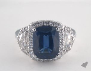Platinum 5.74ct  Cushion Shape Blue Sapphire Ring