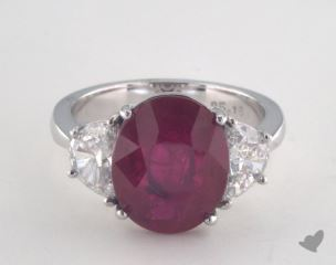 Platinum 5.19ct  Oval Shape Ruby Ring
