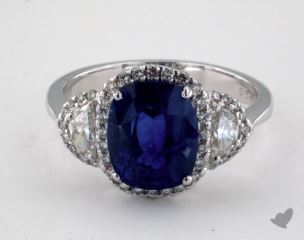 18K White Gold - 3.56ct Cushion- - Blue Sapphire - Faun Ring