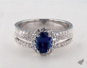 18K White Gold 1.20ct  Oval Shape Blue Sapphire Hi Lo Ring