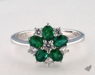 18K White Gold 0.77ct  Oval Shape Green Emerald and Diamond Flower Ring