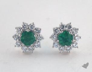 18K White Gold - 0.65tcw  - Round - Green Emerald Earrings