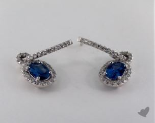 18K White Gold 1.60tcw Diamond Pave Oval Blue Sapphire Earrings.