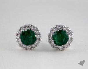 18K White Gold Diamond Halo 0.65tcw Round Shaped Green Emerald Earrings.