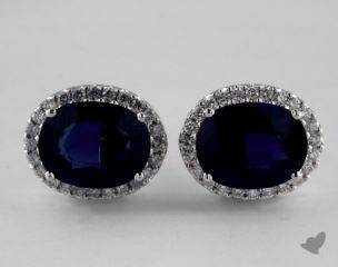 18K White Gold Diamond Halo 2.07tcw Oval Blue Sapphire Earrings.