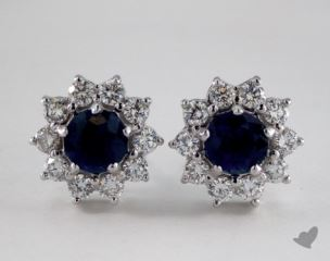 18K White Gold Starburst 1.34tcw Blue Sapphire and Diamond Earrings.