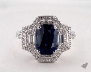 18K White Gold - 3.71ct Emerald- - Blue Sapphire
