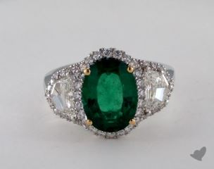 18k two tone - 2.55ct Oval- - Green Emerald