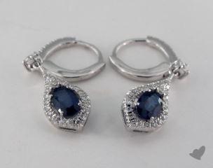 18K White Gold Leverback Diamond Halo1.15tcw Oval Blue Sapphire Earrings.
