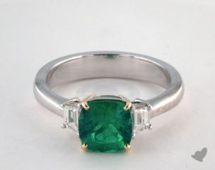 18k two tone - 1.37ct  - Cushion - Green Emerald