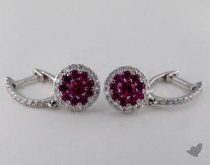 18K White Gold Diamond Halo 0.75tcw Round Ruby Earrings.