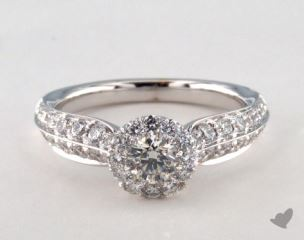 14K White Gold Royal HaloTwo Row Tapered Pave Engagement Ring