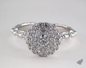 14K White Gold Royal Scallop Halo Diamond Engagement Ring