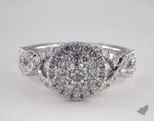 14K White Gold Royal Halo Double Row Crossover Engagement Ring