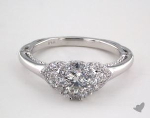 Platinum Royal Halo Charming Pave Shoulder Engagement Ring