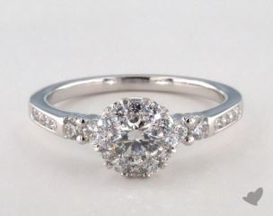 14K White Gold Royal Halo Channel Set Engagement Ring