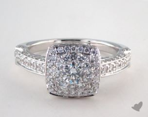 14K White Gold Royal Halo Rollover Cushion Shape Engagement Ring