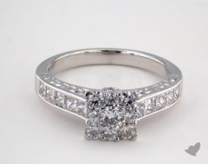 Royal Halo Engraved Channel Set Princess Engagement Ring