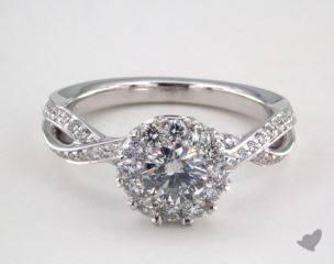 14K White Gold Royal Halo Cross Over Engagement Ring