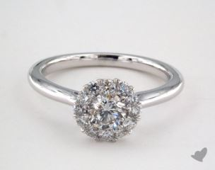 14K White Gold Royal Halo Classic  Engagement Ring