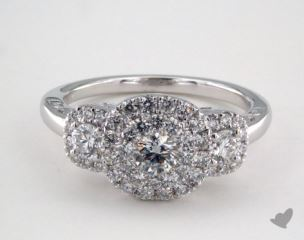14K White Gold Royal HaloThree Stone Cushion Shape Pave Engagement Ring